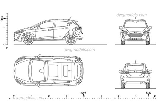 Ford Fiesta dwg, cad file download free