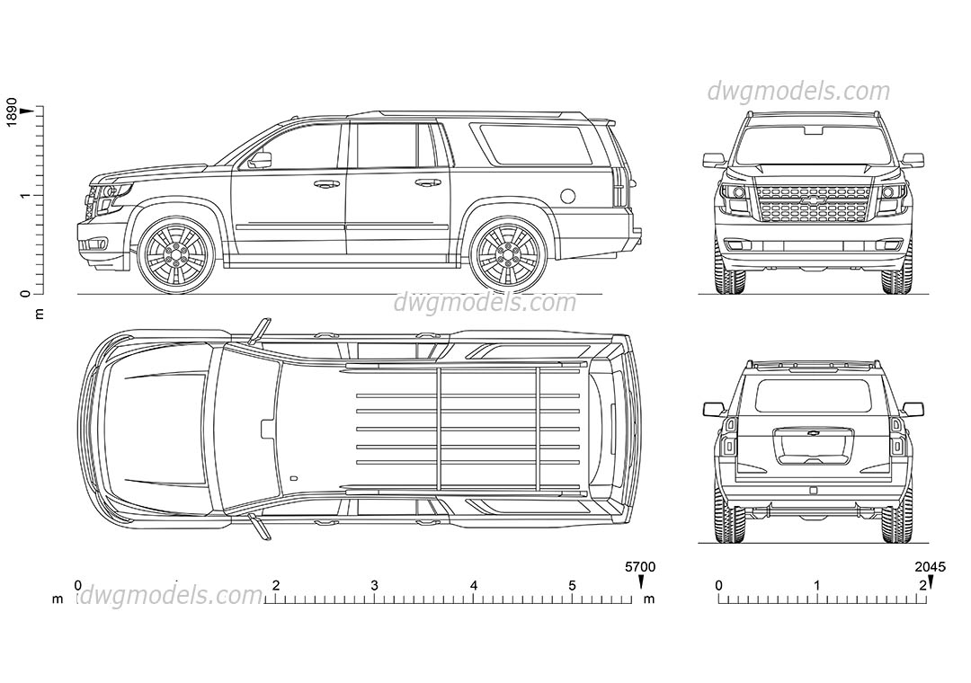 Chevrolet Suburban dwg, CAD Blocks, free download.