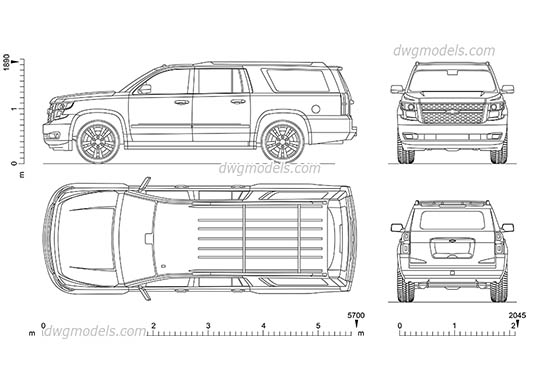 Chevrolet Suburban dwg, cad file download free