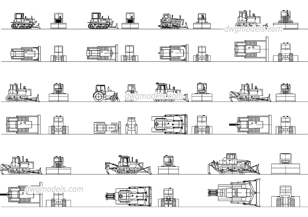 Bulldozers dwg, CAD Blocks, free download.