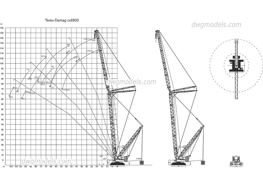 Terex-Demag CC6800 dwg, CAD Blocks, free download.