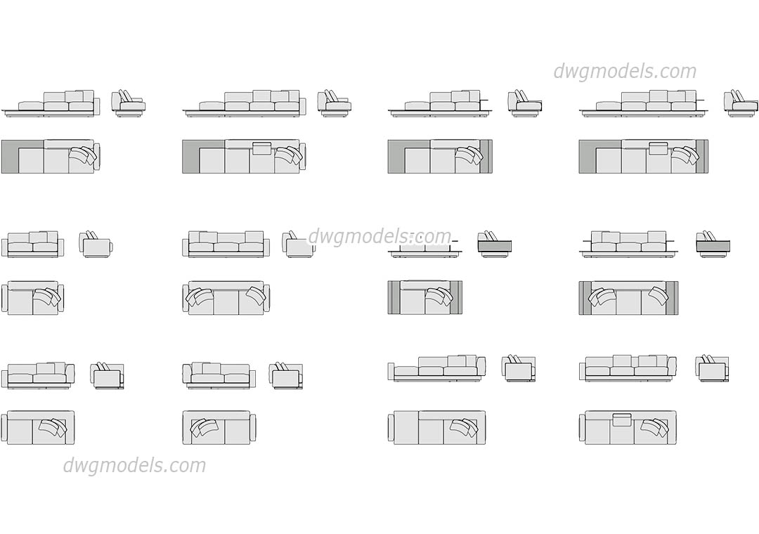 Sofas Set dwg, CAD Blocks, free download.