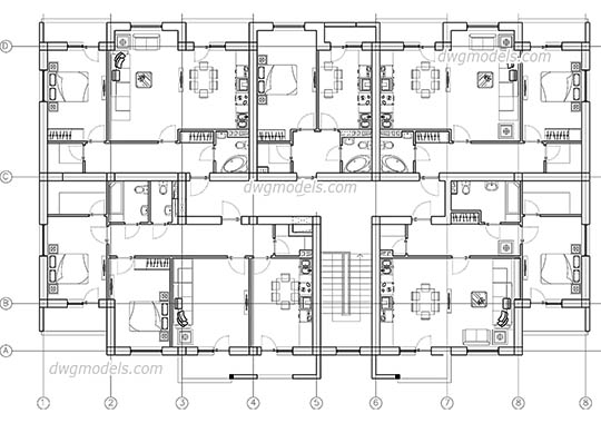 Apartment Building Plan free dwg model