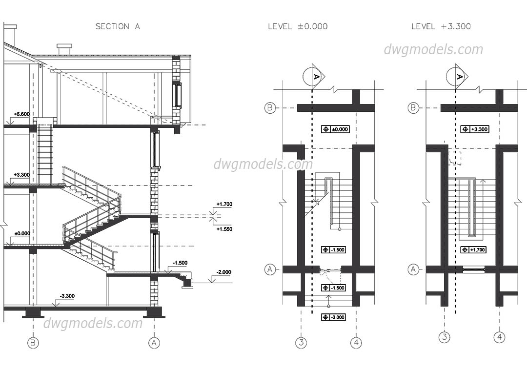 Staircase Section dwg, CAD Blocks, free download.