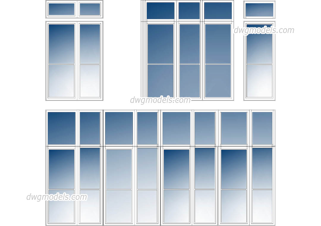 Glass Facade Elevation dwg, CAD Blocks, free download.