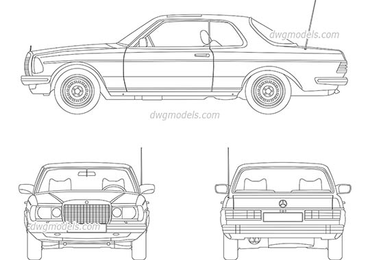 Mercedes-Benz W123 free dwg model