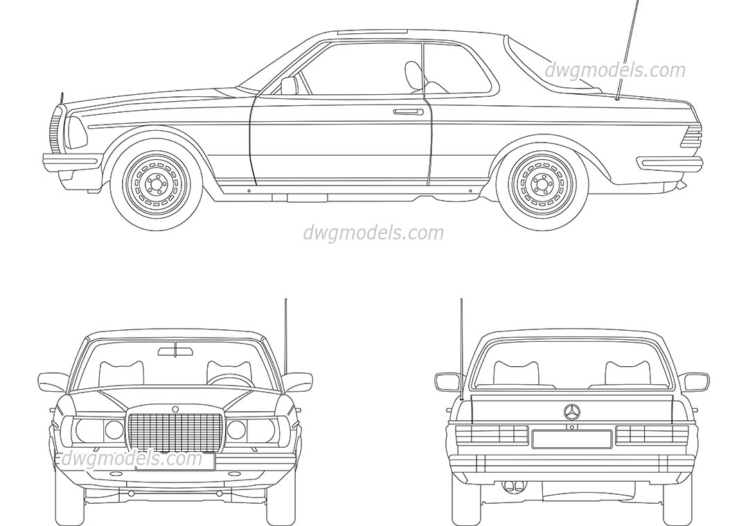 Mercedes-Benz W123 dwg, CAD Blocks, free download.