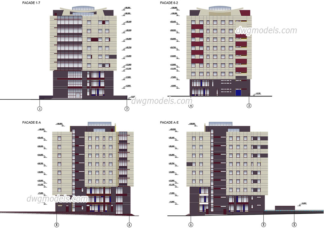 Office Building dwg, CAD Blocks, free download.