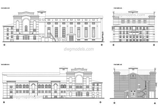 Facades of the Old power station free dwg model