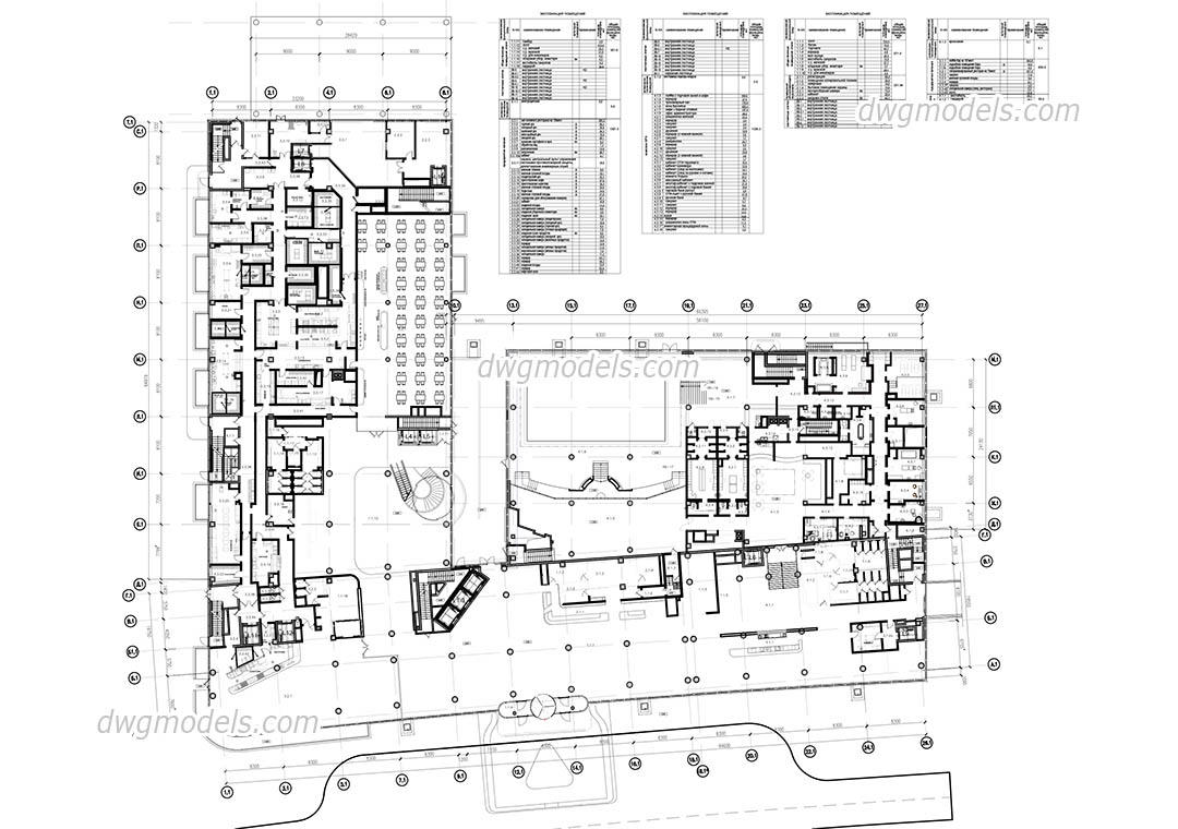 Hotel Ground Floor Plan dwg, CAD Blocks, free download.