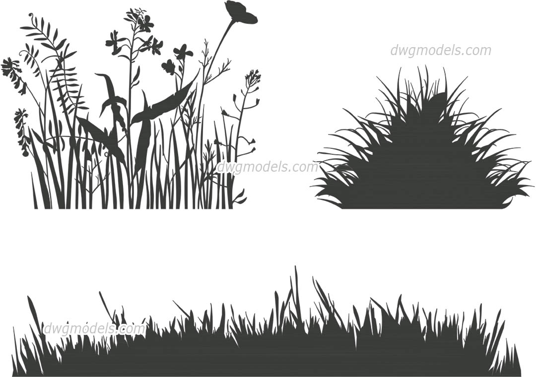 Grass Decor dwg, CAD Blocks, free download.
