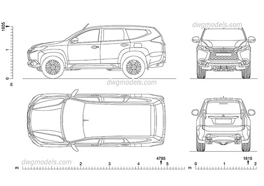 Mitsubishi Pajero Sport dwg, cad file download free
