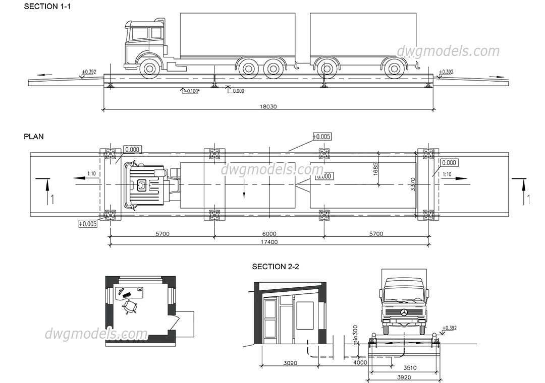 Truck Scales dwg, CAD Blocks, free download.