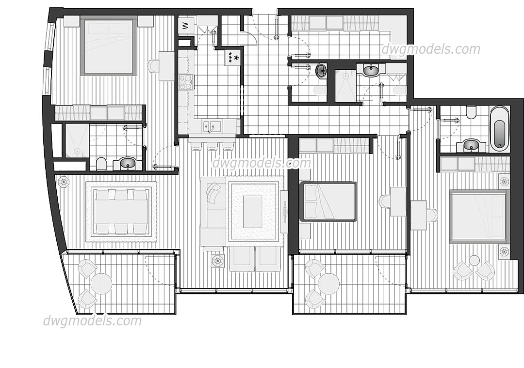 Luxury Flat Plan DWG free download, CAD blocks and details
