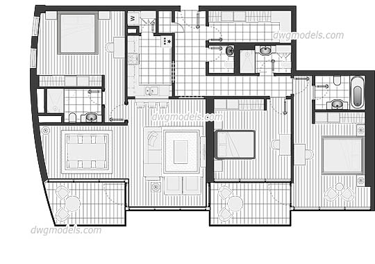 Luxury Flat Plan dwg, cad file download free