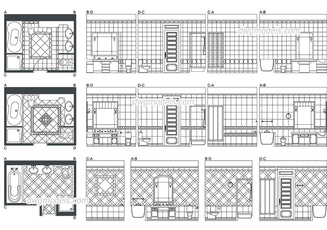 Bathroom Elevations Autocad Blocks Plans Download Free