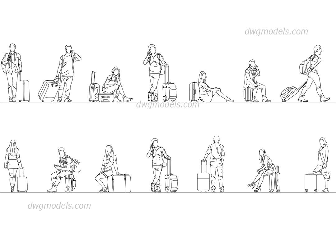 People with Suitcases dwg, CAD Blocks, free download.