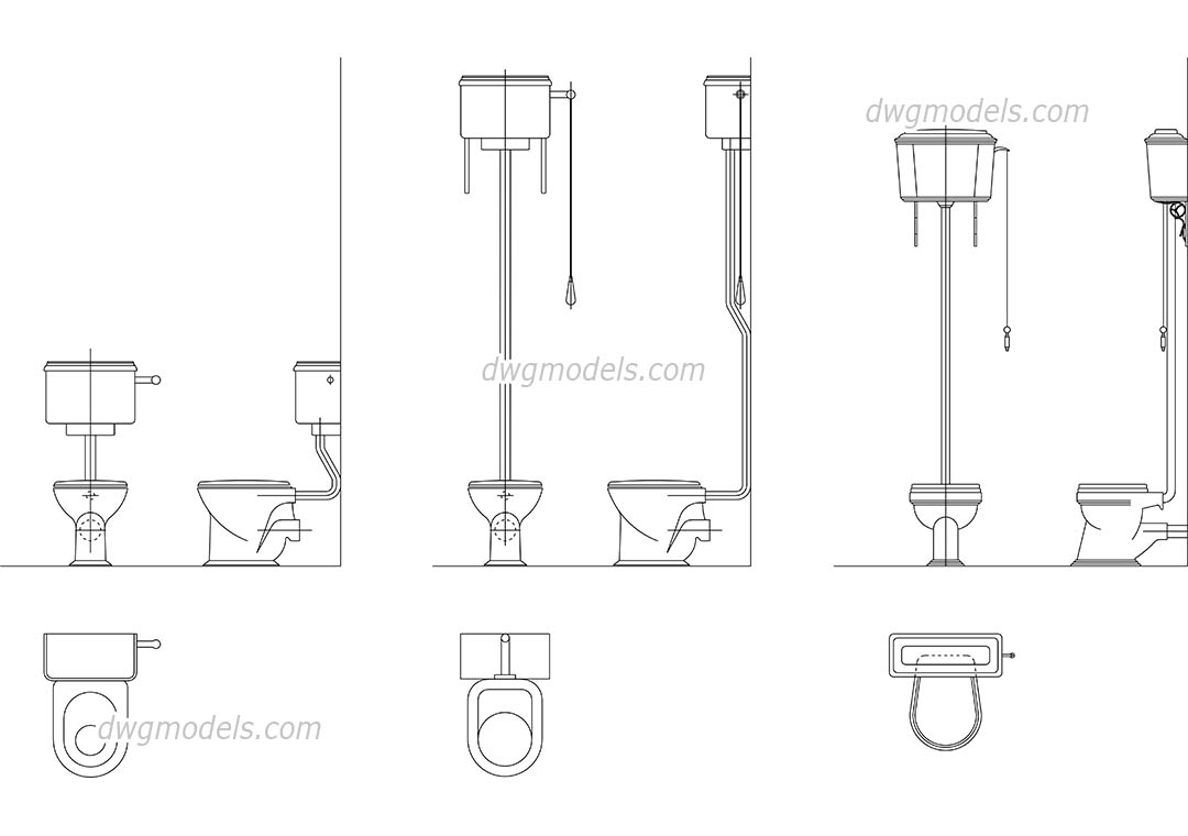 High Tank Toilet dwg, CAD Blocks, free download.