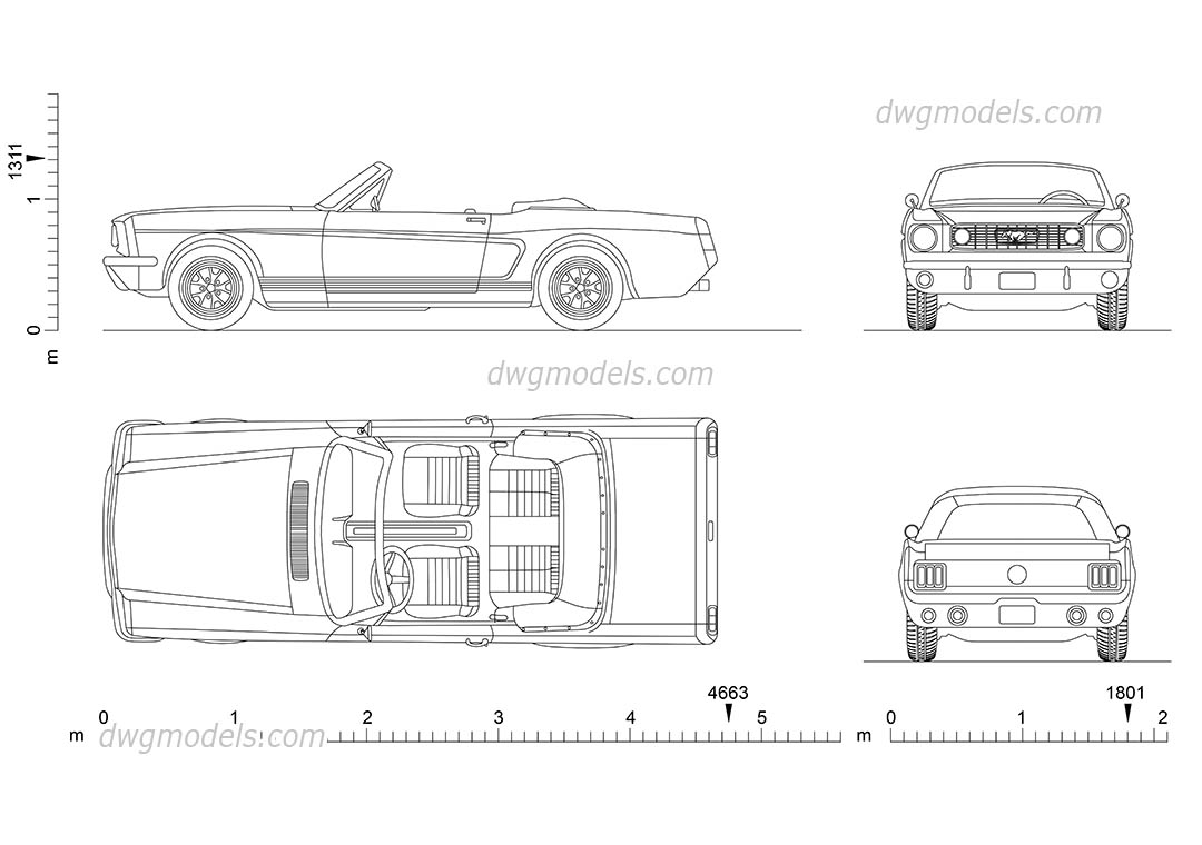 Ford Mustang (1965) dwg, CAD Blocks, free download.