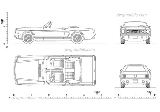 Ford Mustang (1965) dwg, cad file download free