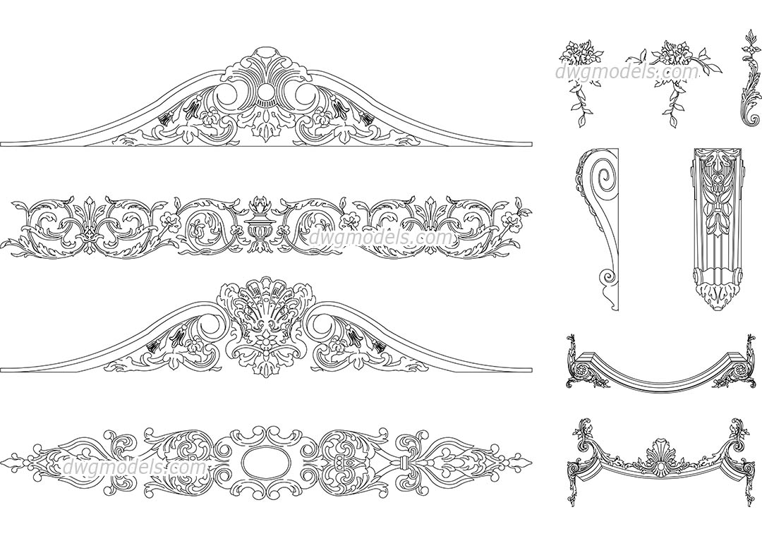Decorative Elements dwg, CAD Blocks, free download.