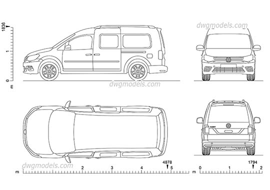 VW Caddy Maxi AutoCAD blocks