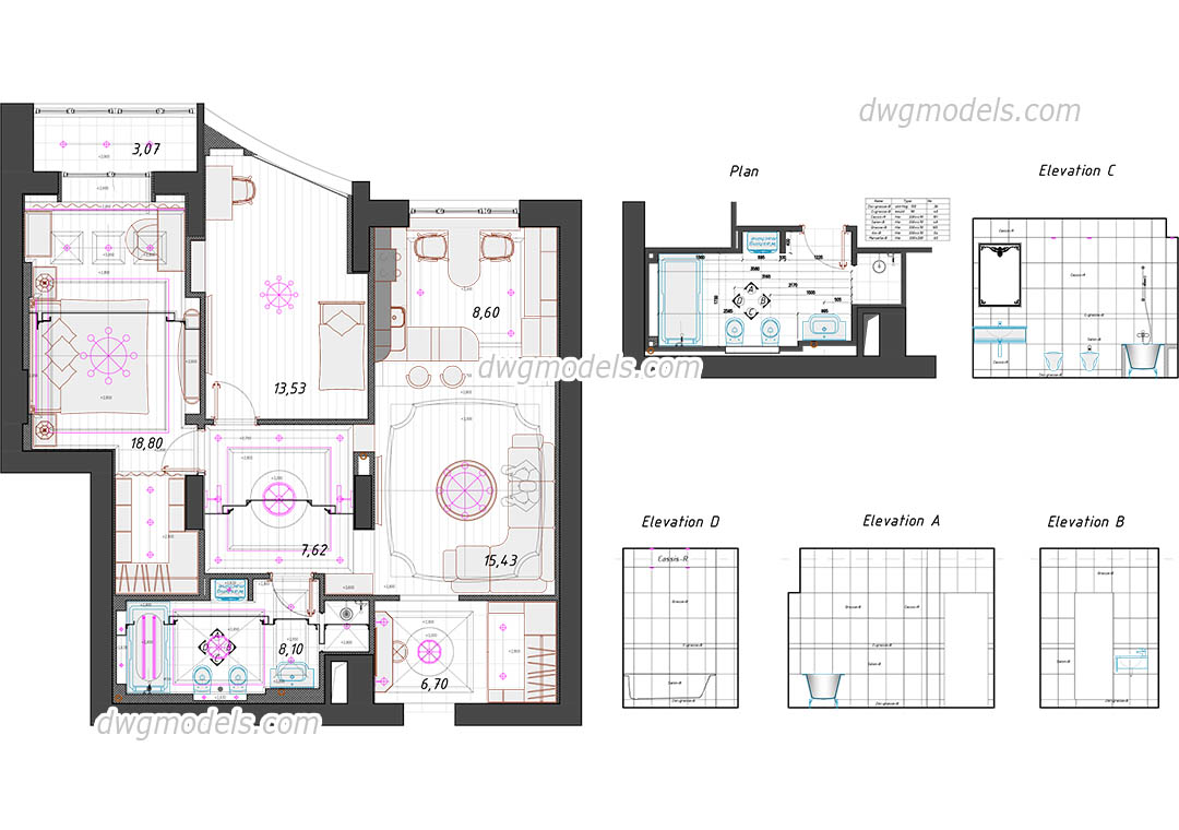 Two Bedroom Flat dwg, CAD Blocks, free download.