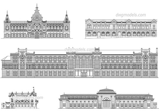 Facades of Historical Buildings dwg, cad file download free