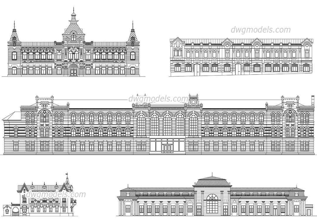Facades of Historical Buildings dwg, CAD Blocks, free download.
