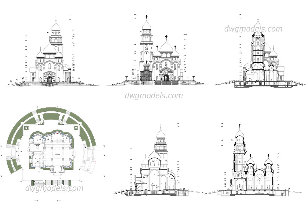 Cathedral dwg, CAD Blocks, free download.