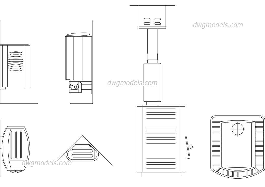 Sauna Stove dwg, CAD Blocks, free download.