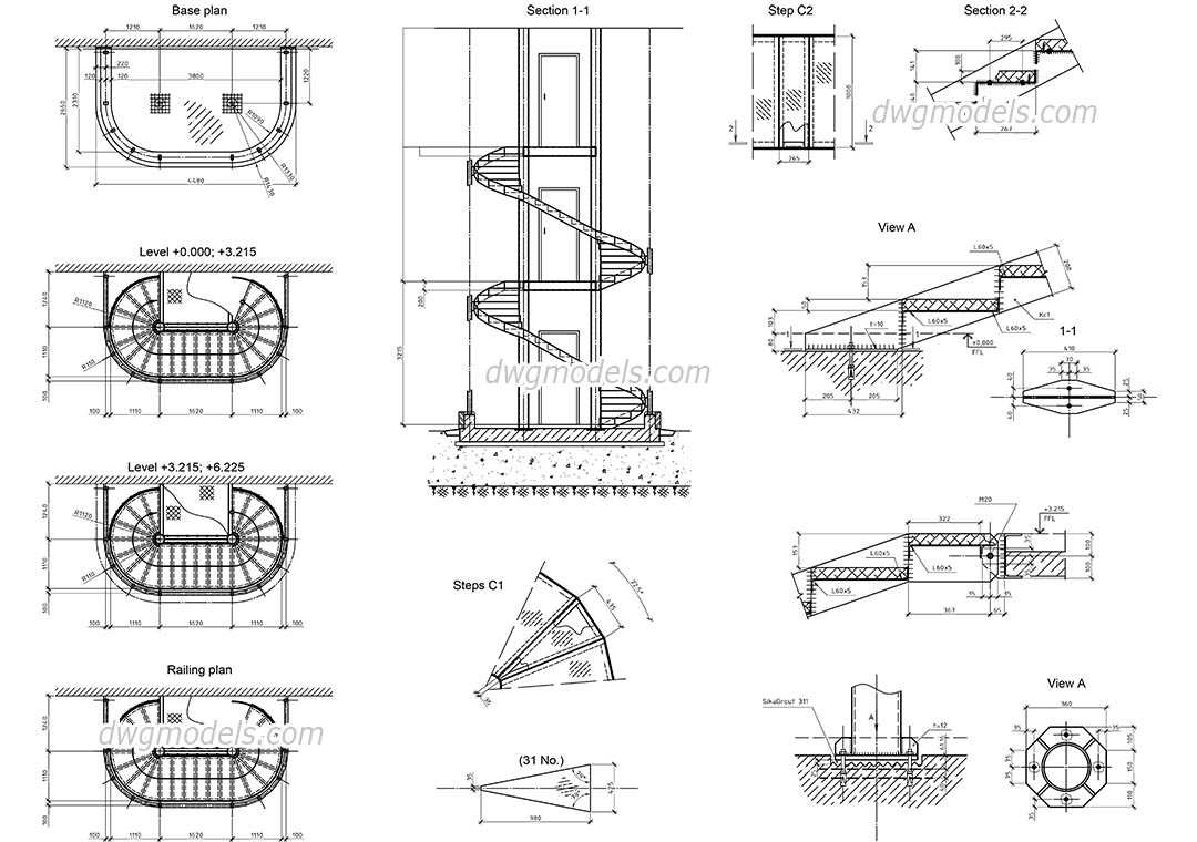 Picture of: Spiral Stair Cad Drawing Download Free Autocad File