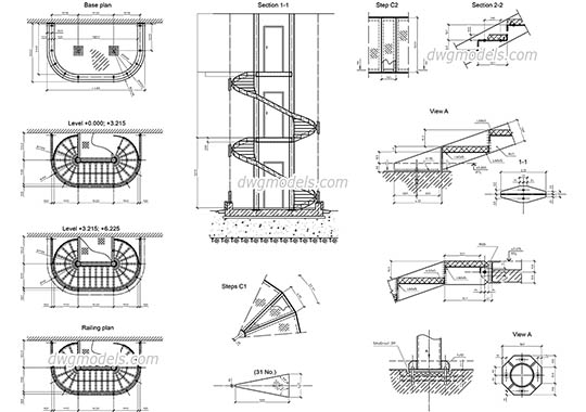 Spiral Stair free dwg model