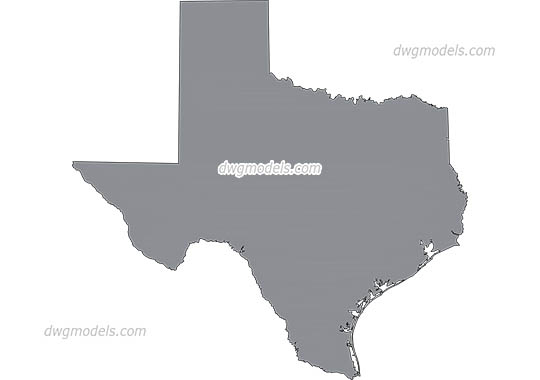 Map of Texas dwg, cad file download free