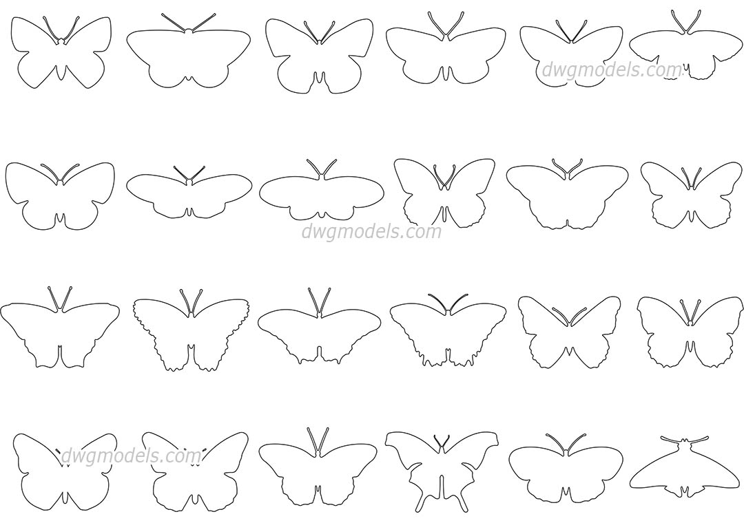 Butterflies dwg, CAD Blocks, free download.