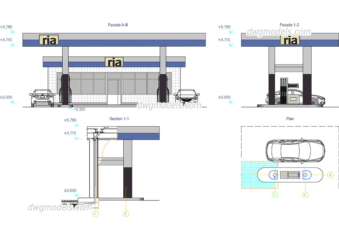 Petrol Station CAD drawings free, DWG plan, elevation