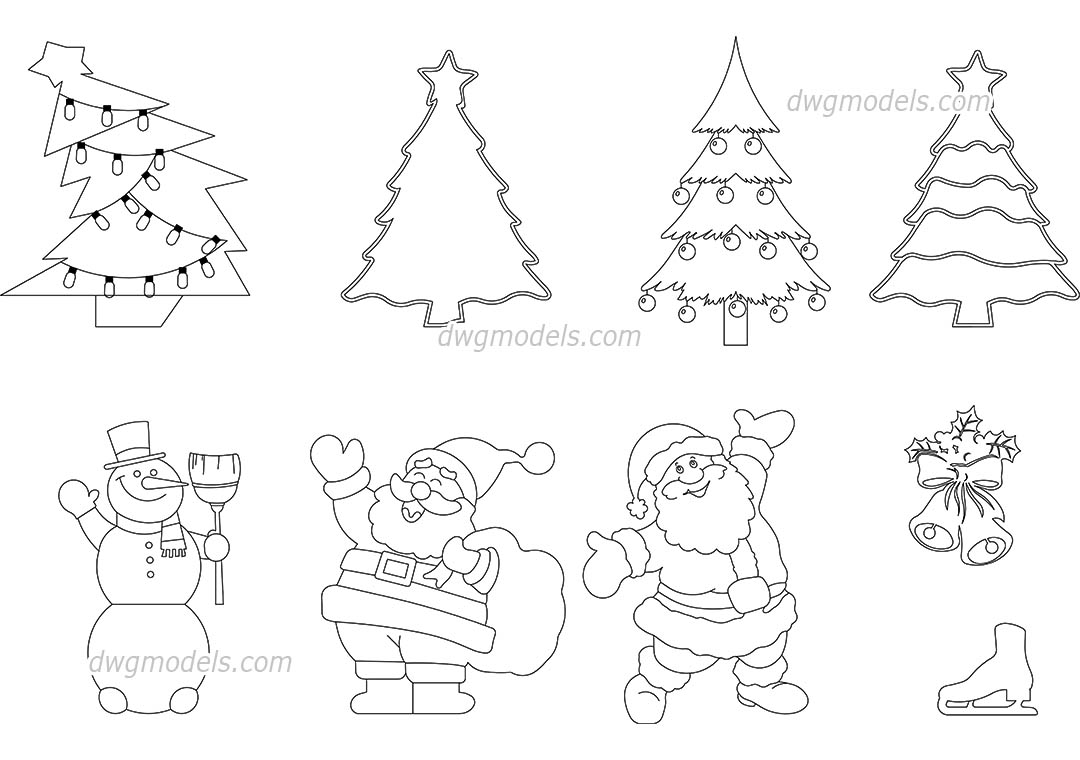 Christmas Decorations dwg, CAD Blocks, free download.