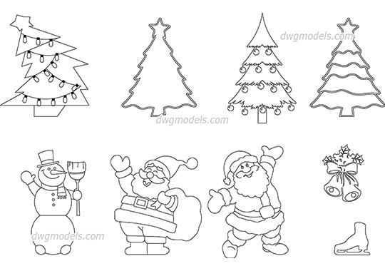 Christmas Decorations AutoCAD blocks