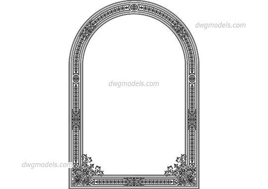 Ornamental frame dwg, cad file download free