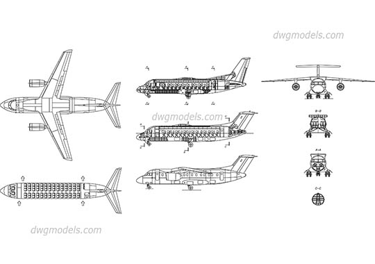 Air transport, airplanes - CAD Blocks free download, dwg models