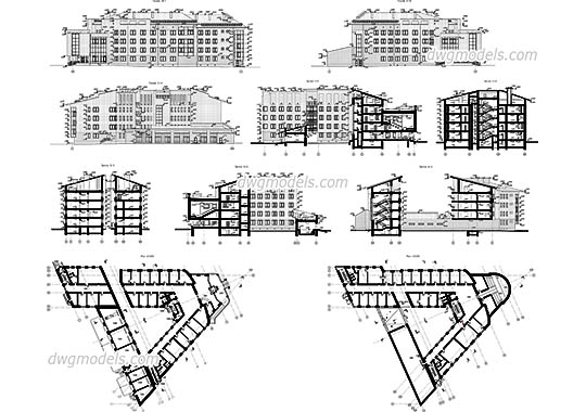 Administrative Building dwg, cad file download free