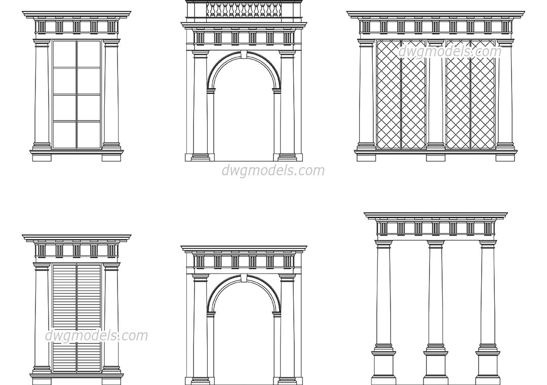 Doric Order dwg, CAD Blocks, free download.
