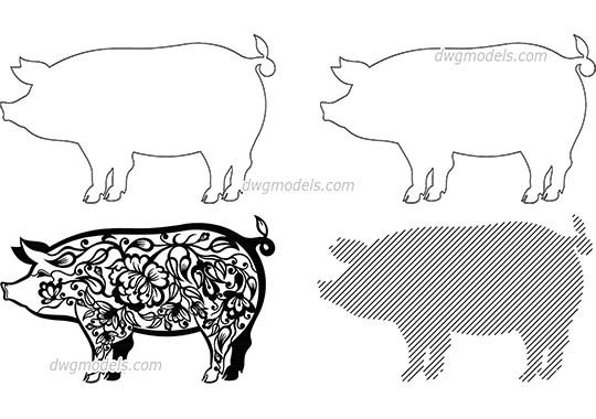 Pig - DWG, CAD Block, drawing