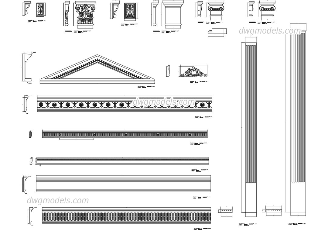 Architectural Elements dwg, CAD Blocks, free download.