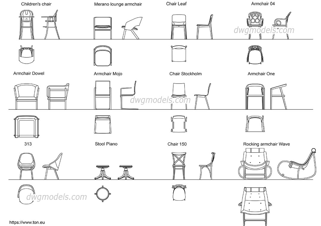 Armchairs and Chairs dwg, CAD Blocks, free download.