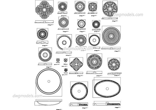 Architectural Rosettes dwg, cad file download free