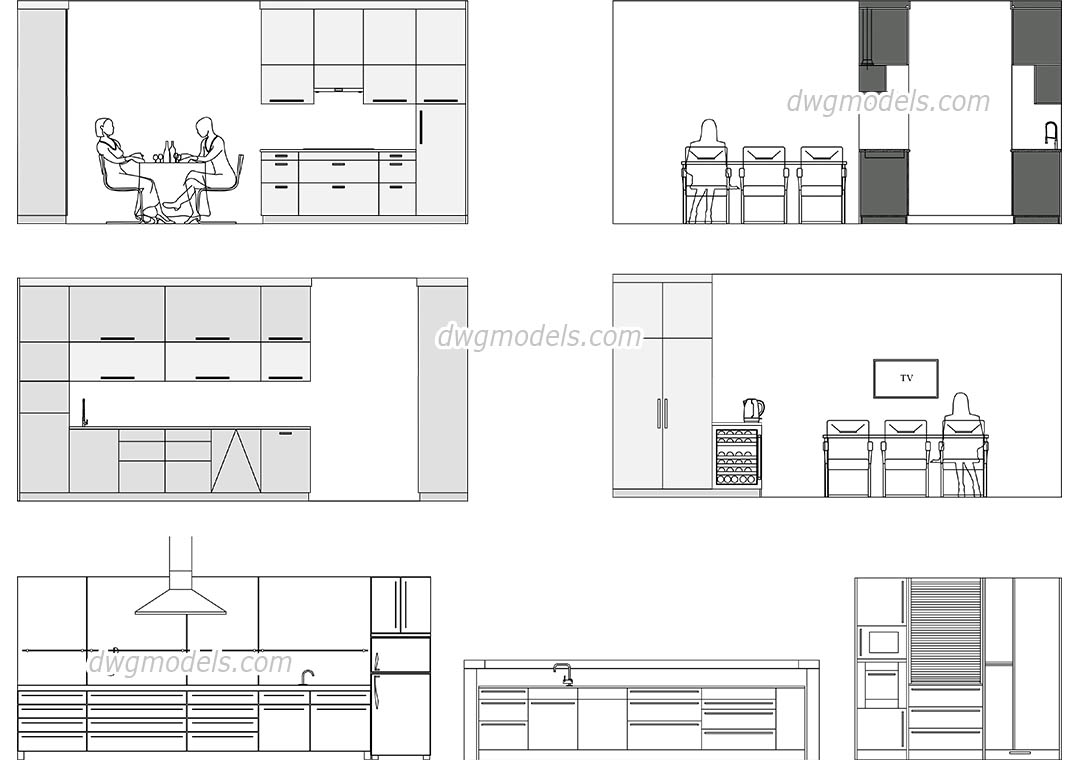 Modern Kitchen Elevation CAD drawings, 10D AutoCAD models