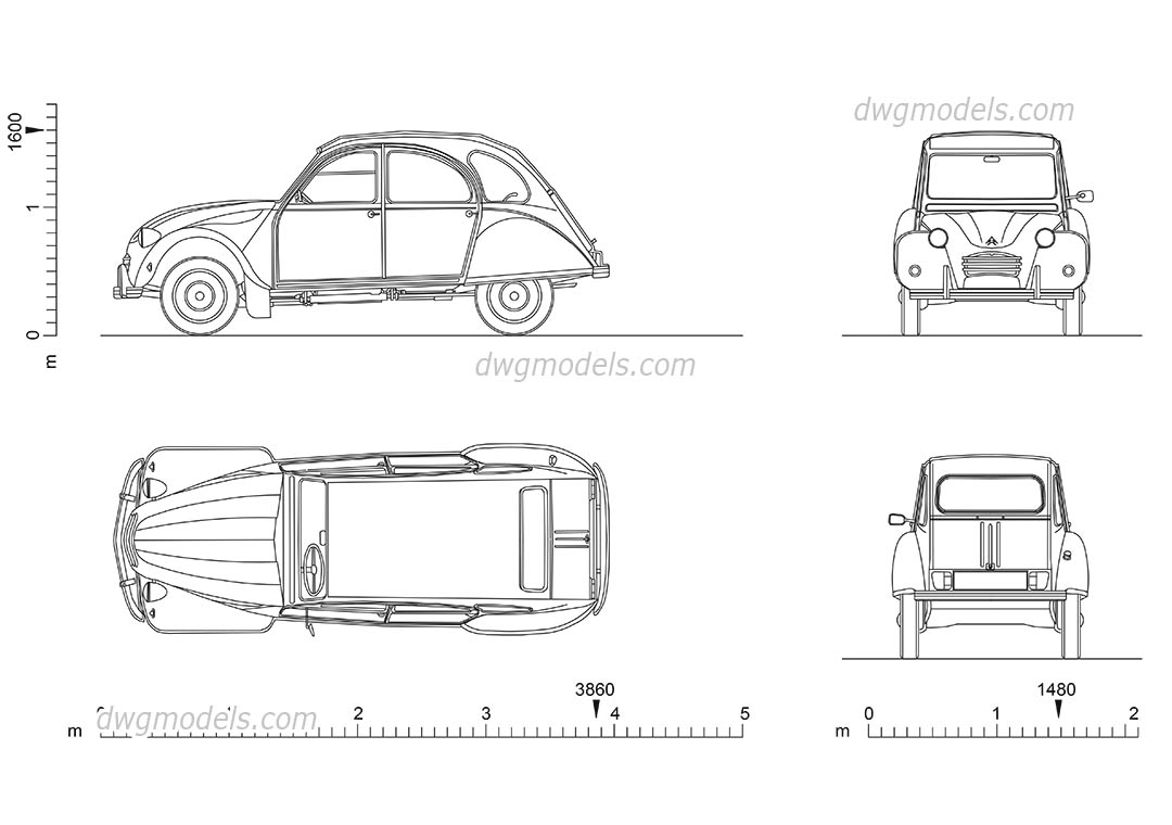 Citroen 2CV dwg, CAD Blocks, free download.