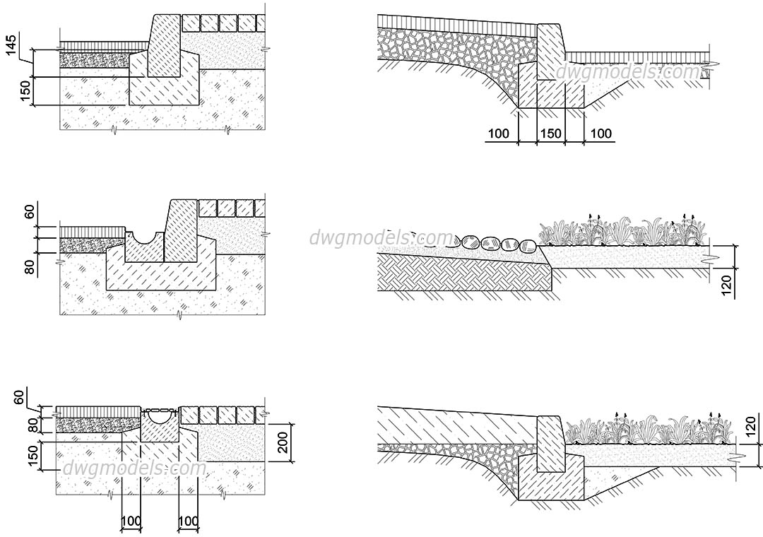 Cross Sections of Pavement AutoCAD, 2D DWG drawings
