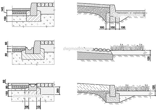 Cross Sections of Pavement dwg, cad file download free